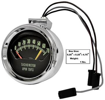 Picture of TACHOMETER 66 CHROME 6200 REDLINE : 1400S CHEVELLE 66-66
