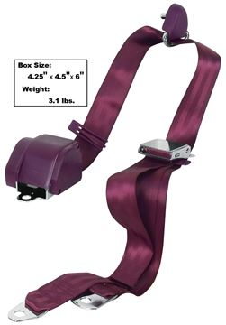 Picture of SEAT BELT 3-POINT MOUNT BURGUNDY : SB3-BURG MUSTANG 65-73