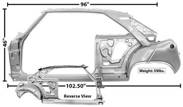 Picture of DOOR/QURATER FRAME ASSY LH 66-67 : 1619QWT NOVA 66-67