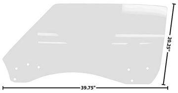 Picture of DOOR GLASS LH 68-69 CP/CONVT. CLEAR 68-69 : 1076FW CAMARO 68-69