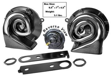 Picture of HORN SET W/UNIVERSAL BRACKETS 6 PC : 1010U CHEVY PICKUP 55-79